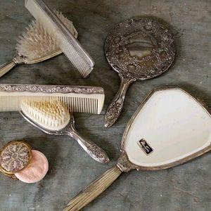 Vintage Vanity Set 7 Items! Mirror Combs Brushes!